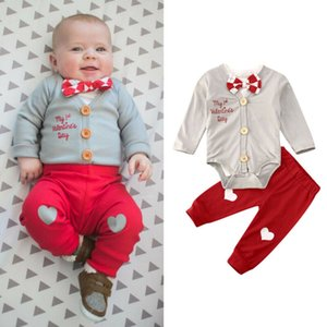 1St Valentines Day Kid Baby Boy Gentleman Tops Romper Long Pant 3PCS Clothes Autumn Heart Shaped Love Bodysuit Headband Outfits Q0104