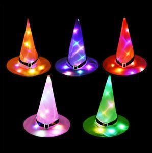 Хэллоуин украшения ведьма шляпа с LED огни Witch Шляпы Wizard Top Hat Cap партии Cosplay Необычные платья висячие Halloween Masquerade
