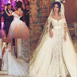 2021 Luxurious Pearls Mermaid Wedding Dress With Detachable Overskirt Beads Floral Lace Appliques Wedding Gown Saudi Bridal Dresses AL7261