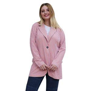 WHZHM Pink One Piece Tops Women Plaid Plus Size 3XL 4XL Suits Spring Single Button Blazers Turn-down Collar Coats Female Suits