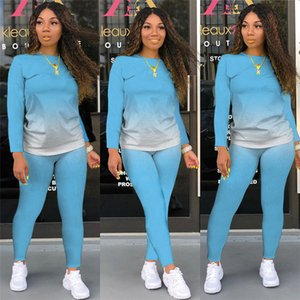 Two accessories combination women's fashion degenerate printing and molding leisure long sleeve clothing + motorcycle jogging pants combinat