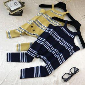 2020 otoño off-the-hombro de rayas de manga larga jersey 0919