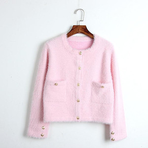 Runway Designer Sweater Women 2020 Autumn Winter Cardigan Female Korean Pink White Knitted Short Coat Casual Clothes Outwear