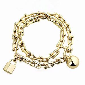 2020 high quality fashion bracelet designer jewelry stainless steel jewelry lock bracelet women bracelet coarse chain love bangle