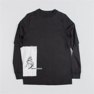 YZGF7 Koyu Siyah Stil Gerçek İki Adet Çift Katmanlı Yeni Gevşek Boyutu Yapıştırılan Bez Yuvarlak Boyun Uzun Kollu T-Shirt Erkekler 3 Renkler Sticker Clotht