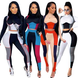 Hot selling New women's spring and autumn casual stitching color Leggings slim two piece sets fashion Tight Long sleeve trousers Suit