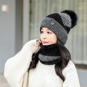 2020 New 2 Pieces Set Women's Knitted Hat Scarf Caps Neck Warmer Winter Hat For Ladies Girls Skullies Beanies Warm Fleece Caps