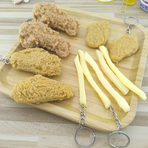Imitation Food Keychain French Fries Chicken Nuggets Fried Chicken leg Food Pendant Children's Toy Promotional Gift 2020