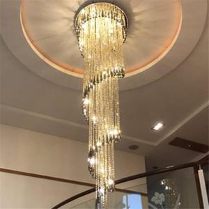 Modern Chandelier Luce scale fumo grigio lampada di cristallo a spirale design decorazione domestica apparecchi di illuminazione AC 90-260V