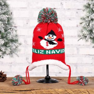 Christmas Baby Beanies Hat Wool Knitted Beanie Kids Pom Pom Hats Winter Warm Headwear Outdoor Cap Christmas Children Gift Caps KKB2718