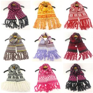 Weihnachten Quaste Woolen Langer Schal Schneeflocke Elch Muster Strickscheitel Outdoor Teenager Ski Halstuch Paare Hals Wraps Schal