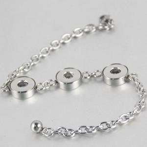 Высокое качество Real нержавеющей стали цепи браслеты браслеты 3 кнопки 12мм Diy Snap кнопки браслеты для женщин 7styles