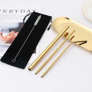 Colorful 304 Stainless Steel Straw Set Reusable Straight Bent Metal Drinking Straw With Cleaner Brush Set Party Bar Accessory DDA615