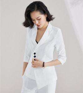 Fashion Formal Ladies White Blazers Women Outerwear Jackets Coats Long Sleeve Elegant Female Work Wear Clothes