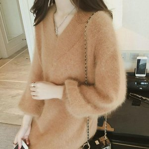Hot 2020 Women's New Sweater Dress Pullovers Autumn and Winter Mid-length Bottoming Sweater Coat Jumper Truien Dames YM10
