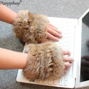 Harppihop hecha a mano de punto de tela de piel verdadera REX Piel Guante handwear guantes de invierno manoplas mit