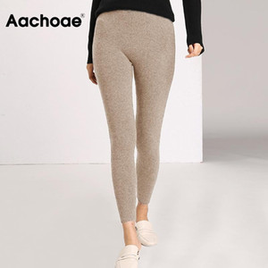 Aachoee outono inverno mulheres leggings 2020 sólido casual calças slim calças de cintura alta cintura sportwear senhoras tornozle comprimento leggings