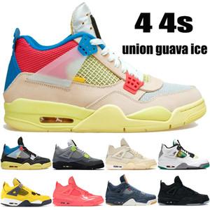 NEW besten 4 4s Vereinigung noir Guave Eis Jumpman Basketballschuhe weiß x Segel SE Neon heißen Punsch Mensturnschuhe US 7-13