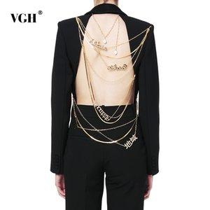 Рукава VgH Цепь Asymmetric Backless Blazer Длинная для женщин Sequined Зубчатого воротника конструктора пальто для женщин 2020 мода Нью-Tide