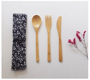 New Adult Japanese Style Bamboo Cutlery Set Natural Bamboo Spoon Fork Knife With Cloth Bag W9809