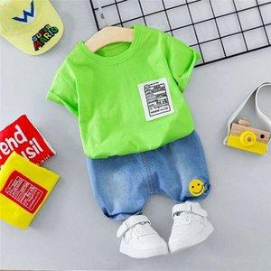 HYLKIDHUOSE 2020 Verão Meninos Meninas Vestuário Define Criança infantil camiseta manga curta Shorts das crianças das crianças Roupa fscW #
