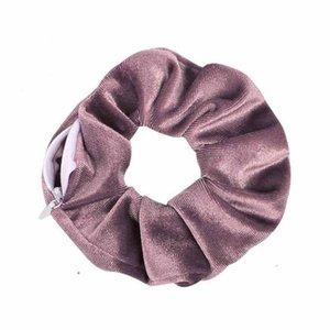 Dame Girls Hair Portemonnaie Pocket Zipper Dickdarm- Haarbänder Samt Stirnband Pferdeschwanz-Halter Wristlet Geldbörse 84 Designs