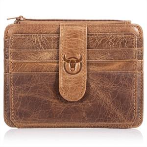 BULLCAPTAIN Men Wallet Business Card Holder leather pickup package bus card holder Slim leather multi card bit 01