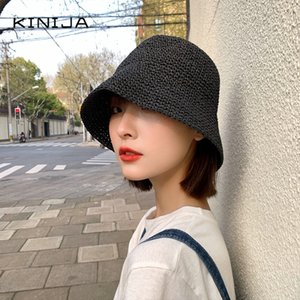 Hot Korean summer women Bucket Hat small fresh fisherman hat beach visor shade hand straw hat Panama girl fishing sun chapeau 201008