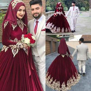 Amazing Burgundy Muslim Arabic Dubai 2021 Wedding Dresses Long Sleeves Gold Embroidery Lace Velvet Wedding Bridal Gowns Vestidos De Novia