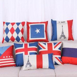 Respetuoso del medio ambiente algodón de lino fundas de almohada tirar almohada cubre 14 Tipo de caja de la almohadilla de la bandera nacional de País fundas de cojines decoraciones caseras OWE2522