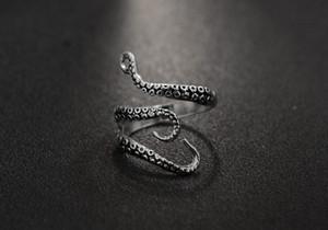 Anel de aço inoxidável para as Mulheres Homens Mar Squid Octopus aberto anel ajustável Octopus Titanium Men Anel