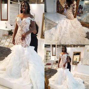 Plus Size africaine Robes de mariée en dentelle Appliqued Paillettes Sheer Jewel Neck Beach Robe de mariée balayage train hiérarchisé Pays Robes de mariée