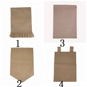 DIY Burlap Garden Flag Jute Ruffles Yard Hanging Flag Portable Blank Banner Easter Garden Decorations 4 Designs