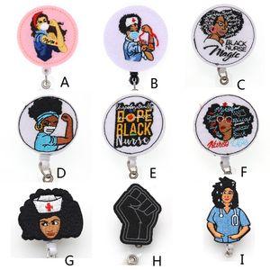 Titulaire de badge d'identité de l'infirmière noire multi-style multi-style pour les accessoires d'infirmière Accessoires Badge bobine avec clip d'alligator