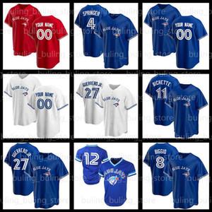 Jays Jerseys 4 George Springer Toronto 2020 2021 Personalizado 27 Vladimir Guerrero Jr. Blue Cavan Biggio Joe Carter Bo Bichette Alomar Baseball