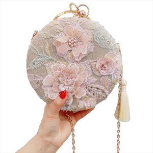 New Tassel Evening Dress Clutch Bag Embroidery Flower Round Evening Bag Wallet Day Wedding Handbag