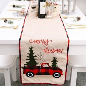 Runner Cotton Linen Cover Car Xmas Tree Flag Table Dress Tablecloth Eating Mat Christmas Decorations DHE18