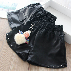 2Color New arrived Pu leather girls shorts fashion rivet kids shorts girls pants kids pants autumn winter girls clothes B2412