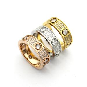 Мода фирменного названия Ювелирные Изделия Мужчины / Женщины Full CZ Diamond Love Ring Золото 3 Цвет Любовь Кольца Titanium Сталь Высокополированный Любовник Кольца Выберите коробку