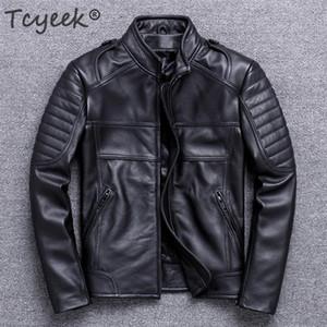 Tcyeek Primavera Autunno 100% rivestimento di cuoio genuino degli uomini vestiti di inverno 2020 Streetwear Moto Biker naturale reale della mucca cappotto di cuoio 820