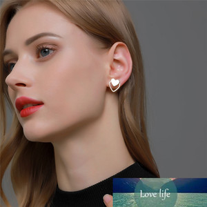 Modyle New Fashion Punk Gold Silver Color Sweet Cute Dazzling CZ Heart Stud Earrings for Women Girls Kids Lady Jewelry