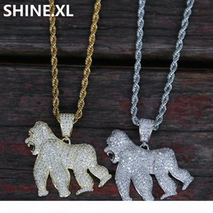 14K Gold Iced Out King Kong Gorilla Pendant Necklace Charm Animal Necklace for Men Women Party Jewelry
