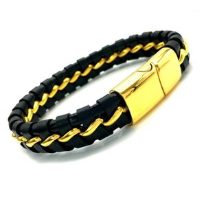 Charm Bracelets 316L Stainless Steel & Bangles Mens Gift Black Leather Knitted Magnetic Clasp Bracelet Men Jewelry B-2011