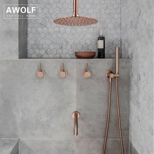 "Bathroom Shower Set Brushed Rose Gold Simplicity Solid Brass 8"" Shower Head Faucet Mixer Tap Shower Bath Black Chrome AH3023 1011"