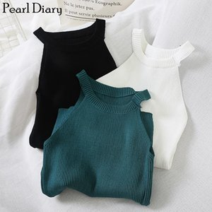 Pearl Diary Women Knitted Halter Vest Female High Neck Racer Solid Sleeveless Women Rib Knit Summer Off Shoulder Slim Fitted Top