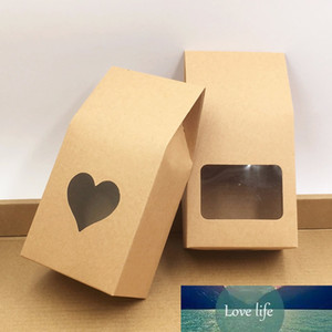 50pcs Kraft Paper Party Wedding Gift Bags,Cake Chocolates Candy Packing Bags Stand Up Food Clear PVC window Seal boxes 8*16*5cm