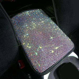 Crystal Car Armrests Cover Pad Vehicle Center Console Arm Rest Box Cushion Diamond Girls Car Interior Accessories Rhinestone