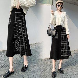 2020 Autumn Winter Knit Women Skirt High Waist Ladies Sweater A-Line Skirt Patchwork Black Color Free Size Brand Clothes