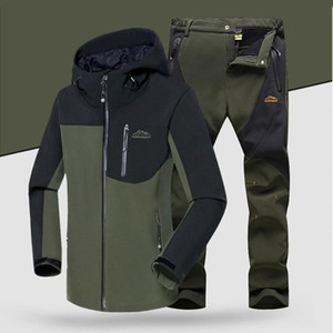 Erkekler Kış Su Geçirmez Softshell Ceket Seti Balıkçılık Sıcak Polar Hiking Açık Ceketler Ceket Seti Pantolon Boy Pantolon