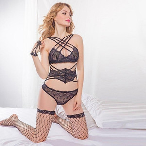 Sexy Lingerie Set Women Hollow cross Bandage Babydoll Sexy Underwear Lace Bra G-string Sex Porno Lingerie Erotic Sleepwear black